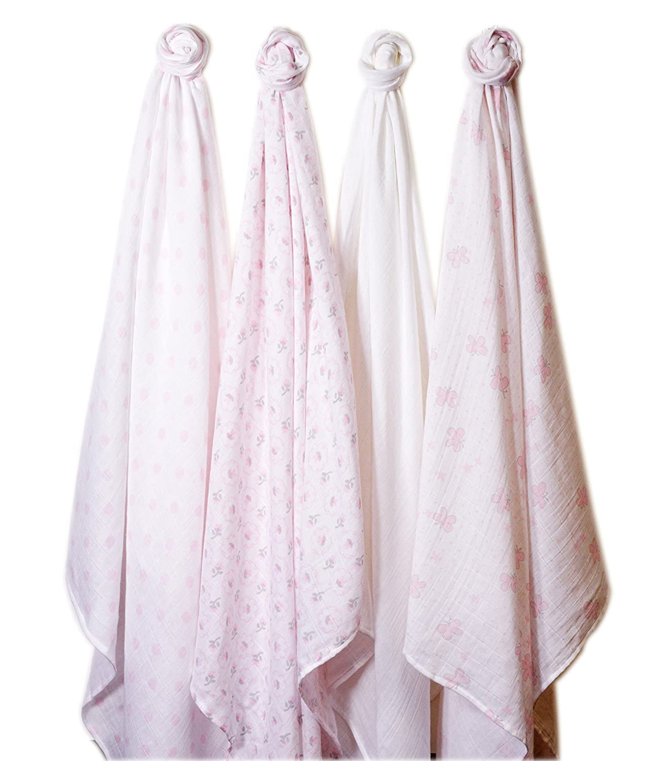Butterfly Fun Set of 4 SwaddleDesigns X-Large Cotton Muslin Swaddle Blankets Pastel Pink