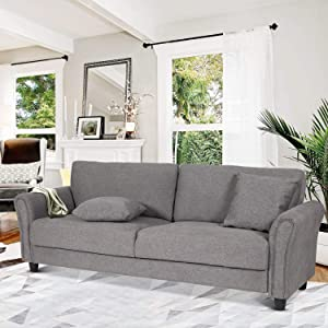 DKLGG Modern Linen Futon Sofa with 2 Pillows Living Room Upholstered Fabric Couch Thick Cushion, Gray