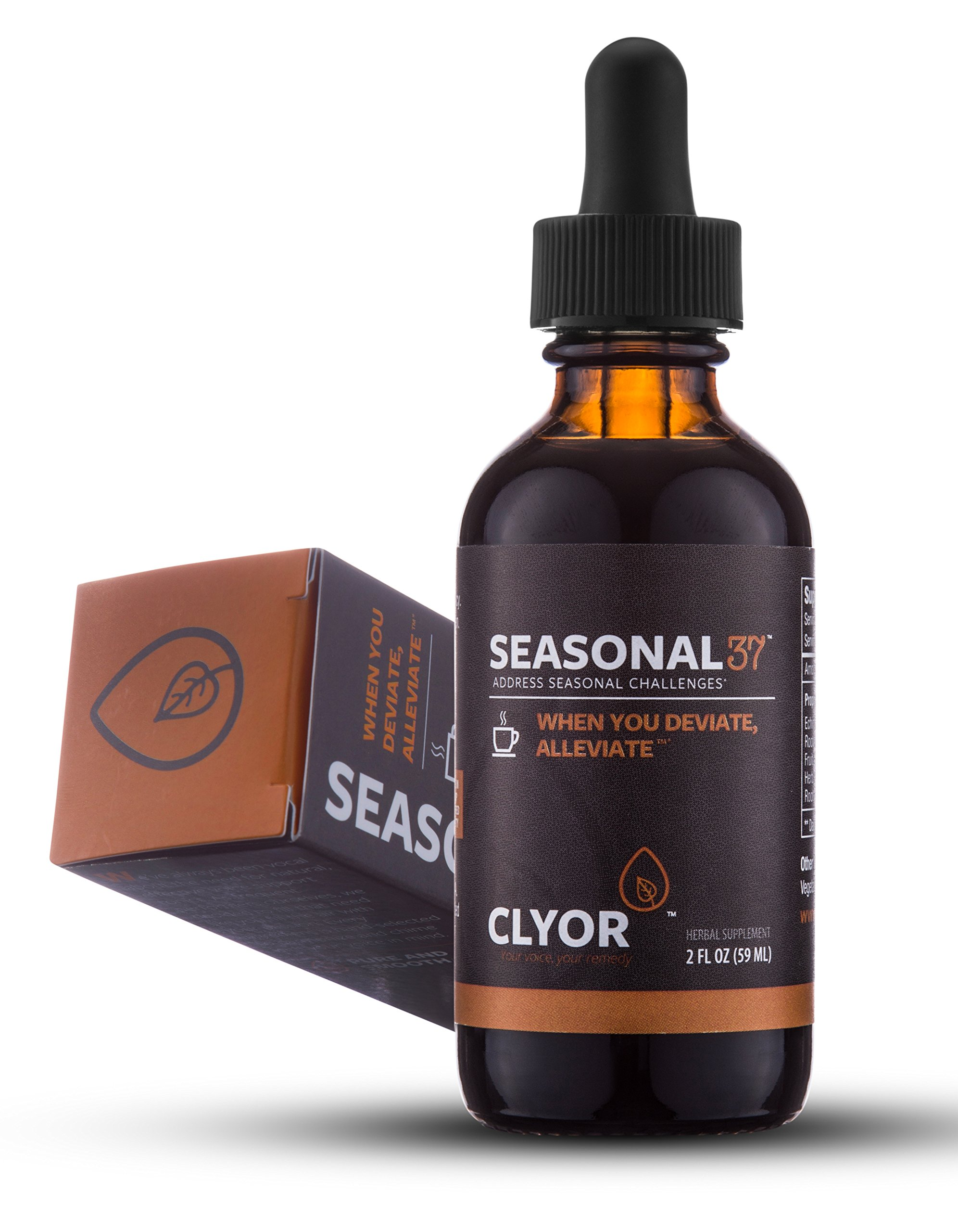 Seasonal37 - Cold Remedy - Fast Acting Cold Relief - All Natural Herbal Immune Booster Cold Flu Cough Respiratory Congestion, Elderberry, Ginger & Echinacea Herb 2oz - SEASONAL37 by Clyor by CLYOR