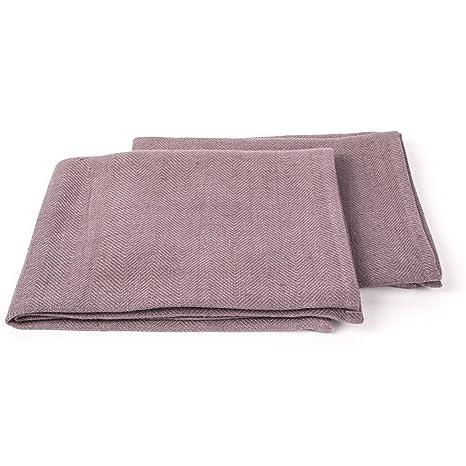 Juego de 2 pizarra lino toallas de mano Lara, 33 x 50 cm