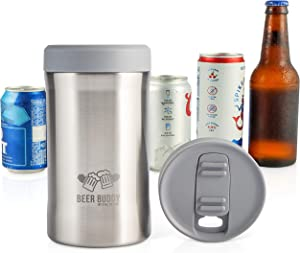 Beer Buddy​ Insulated Can Holder – Vacuum-Sealed Stainless Steel – Beer Bottle Insulator for Cold Beverages – Thermos Beer Cooler ​Suited for Any Size​ Drink - One Size Fits All (Stainless Steel)