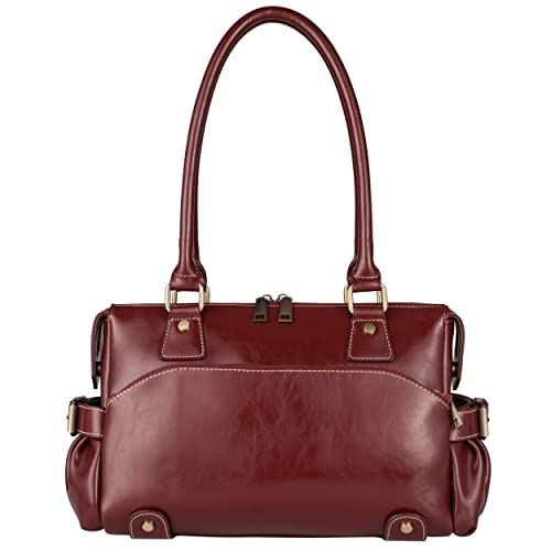 2429a4409f20 Image Unavailable. Image not available for. Color  Yiwanda Women s Genuine  Leather Handbags Purses Fashion Tote Bag Hobo Bags Shoulder Bags (Wine Red