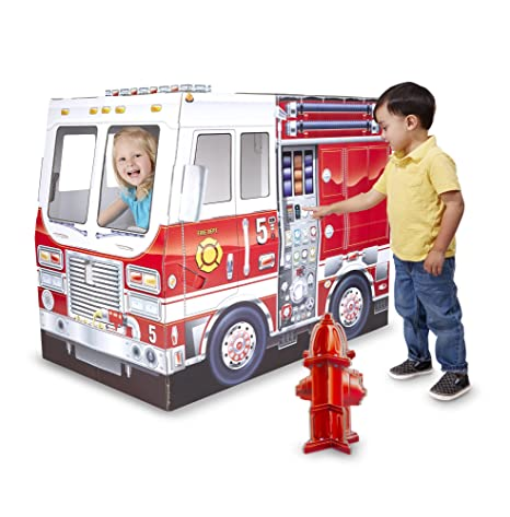 amazon com melissa doug fire truck indoor corrugate cardboard