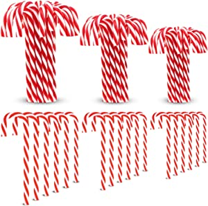 Gejoy 50 Pieces Christmas Plastic Candy Cane Christmas Twisted Candy Cane Xmas Tree Decoration for Hanging Christmas Tree, 3 Sizes