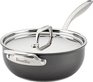 Breville Thermal Pro Hard Anodized Nonstick Sauce Pan/Saucepan/Saucier with Lid and Helper Handle, 4 Quart, Gray
