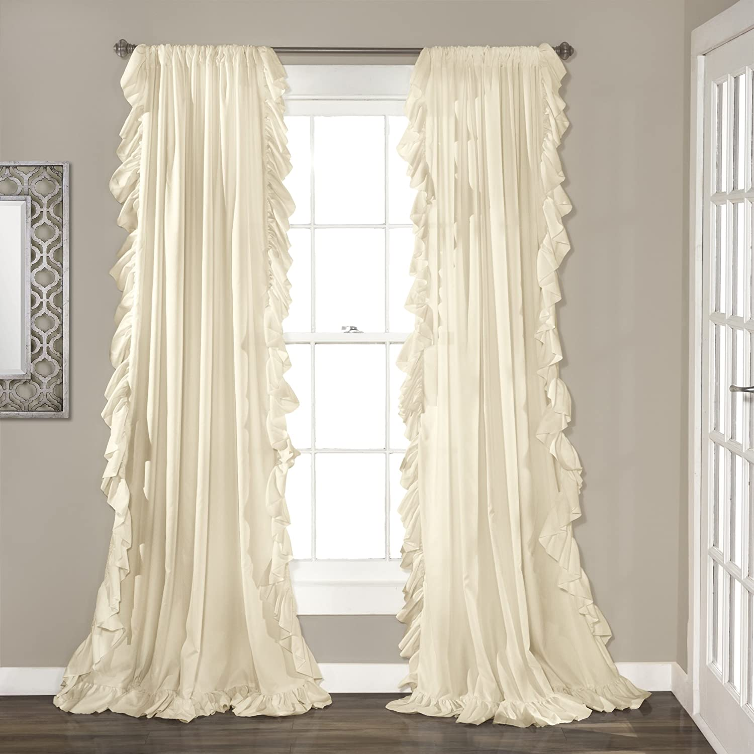 "Lush Decor Ivory Reyna Window Panel Curtain Set for Living, Dining Room, Bedroom (Pair), 108"" x 54"", 108"