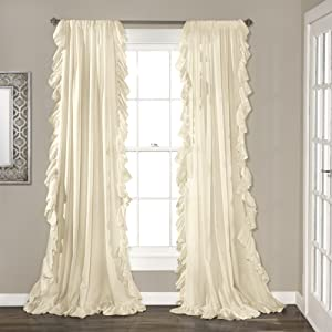 "Lush Decor Reyna Ivory Window Curtains Panel Set for Living, Dining Room, Bedroom (Pair), 95"" x 54"","