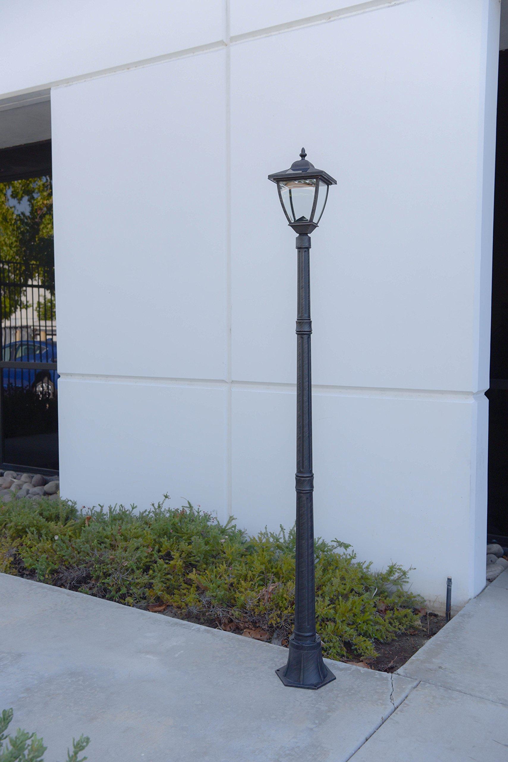TruePower Cast Aluminum Solar Powered COB LED Streetlight Style Outdoor Light Lamp Post, Brushed Iron Rust Finish