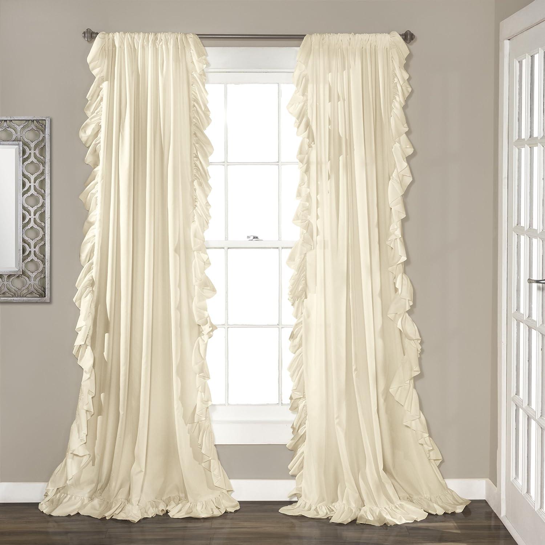 "bluesh Pink 84"" x 54"" Lush Decor Reyna Ivory Window Panel Curtain Set for Living, Dining Room, Bedroom (Pair), 108  x 54 L"