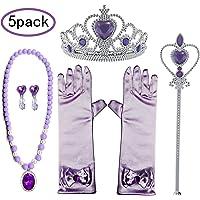 GCFIYPP Princesse Habiller Accessoires 5 Pièces Cadeau Violet Set pour Sofia Couronne Sceptre Baguette Collier Boucles d'oreilles Gants