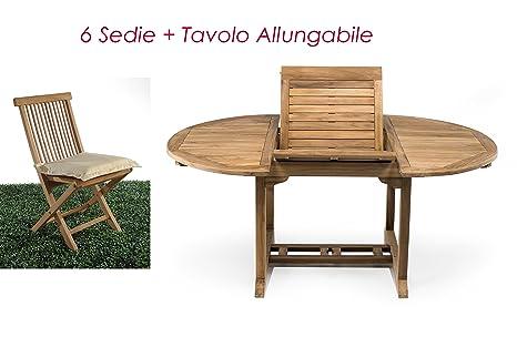 Tavolo Esterno Rotondo Allungabile.Rspl Set Da Esterno In Vero Teak Tavolo Allungabile 6