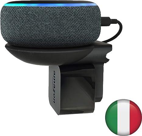 Supporto compatto ECHO DOT per PRESA ITALIANA NO VITI o COLLA su pareti Made in Italy con Plastiche BIO. Staffa MONTAGGIO a SPINA per Cucina Bagno e Camera da Letto Nero Antracite Cavo nascosto