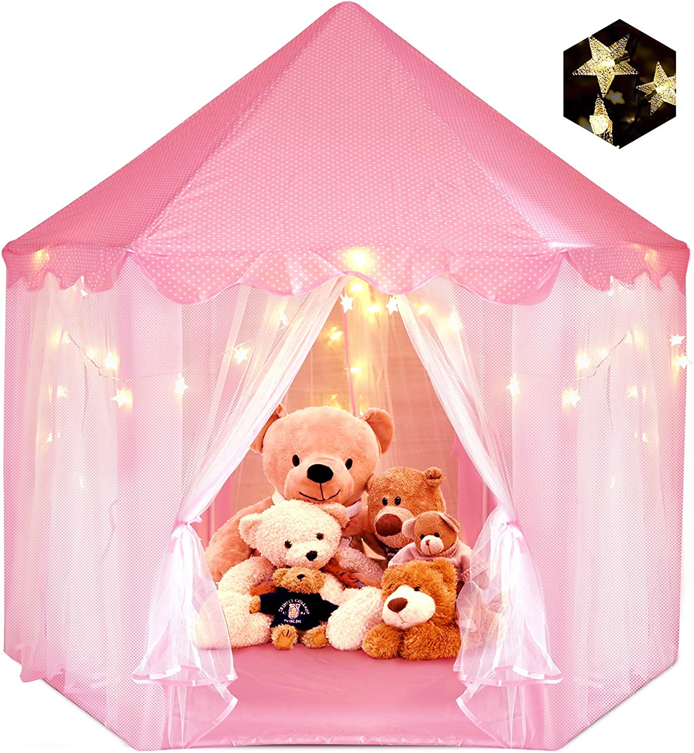 Portable Play Tent For Girls Pink Princess Castle Tent Indoor /& Outdoor Use