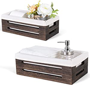Dahey Wooden Storage Bin Decor Box Toilet Tank Paper Organizer Container Cabinet Shelf Basket Decorative Closet Countertop with Handles and Washable Liner for Bedroom Livingroom Laundry, 2 Pack
