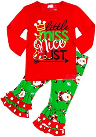 Amazon.com  Boutique Clothing Girls Christmas Santa Little Miss Nice ... b39c24671