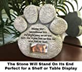 Paw Print Pet Memorial Stone - Features a Photo