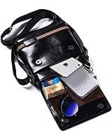 Small Leather Messenger Bag Men's Shoulder CrossBody Pusre Travel Bag Pack Organizer