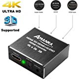 AMANKA 4K x 2K 3D HDMI to HDMI and Optical SPDIF + 3.5mm Stereo Audio Extractor Converter HDMI Audio Splitter Adapter for Blue-ray PC Laptop Xbox One HDTV