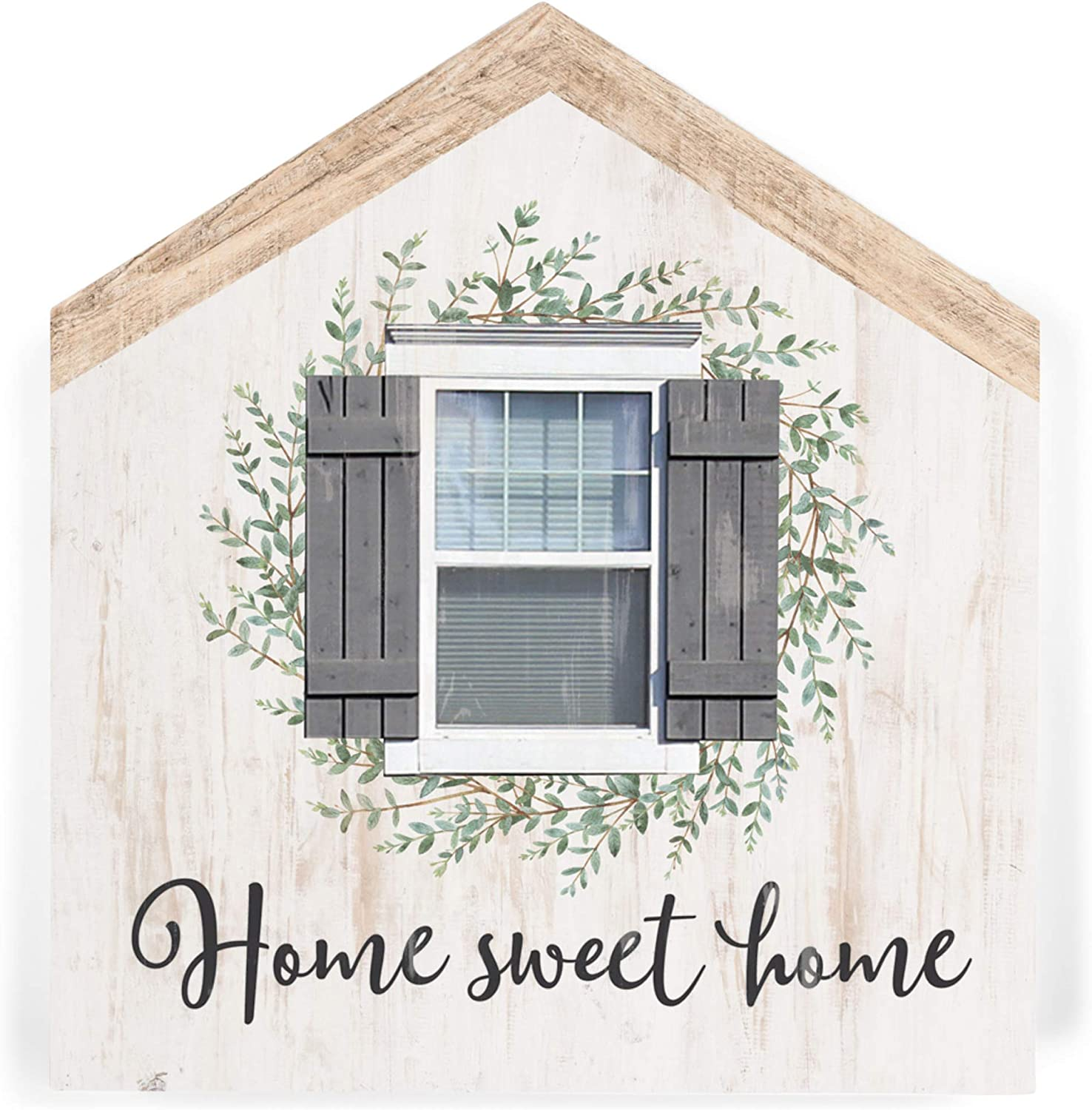 P. Graham Dunn Home Sweet Home House Shaped 5.5 x 6 Inch Pine Wood Block Tabletop Sign