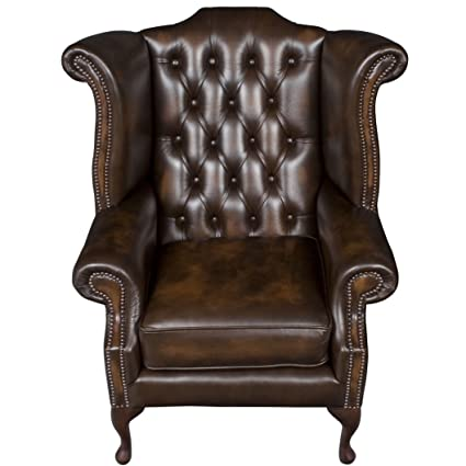 English Classics Queen Anne Style Brown Leather Wingback Armchair Queen Anne Armchair E88