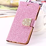 2016 Fashion Luxury Bling Glitter Wallet Flip Leather Case Cover For iPhone 6 Plus Back cover for iPhone 6Plus PINK