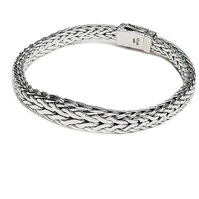 Amazon Com Kham Mens 925 Sterling Silver Hand Woven Bali Style