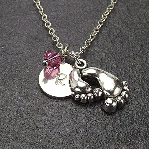 amazon com customized mom and baby feet necklace with birthstone