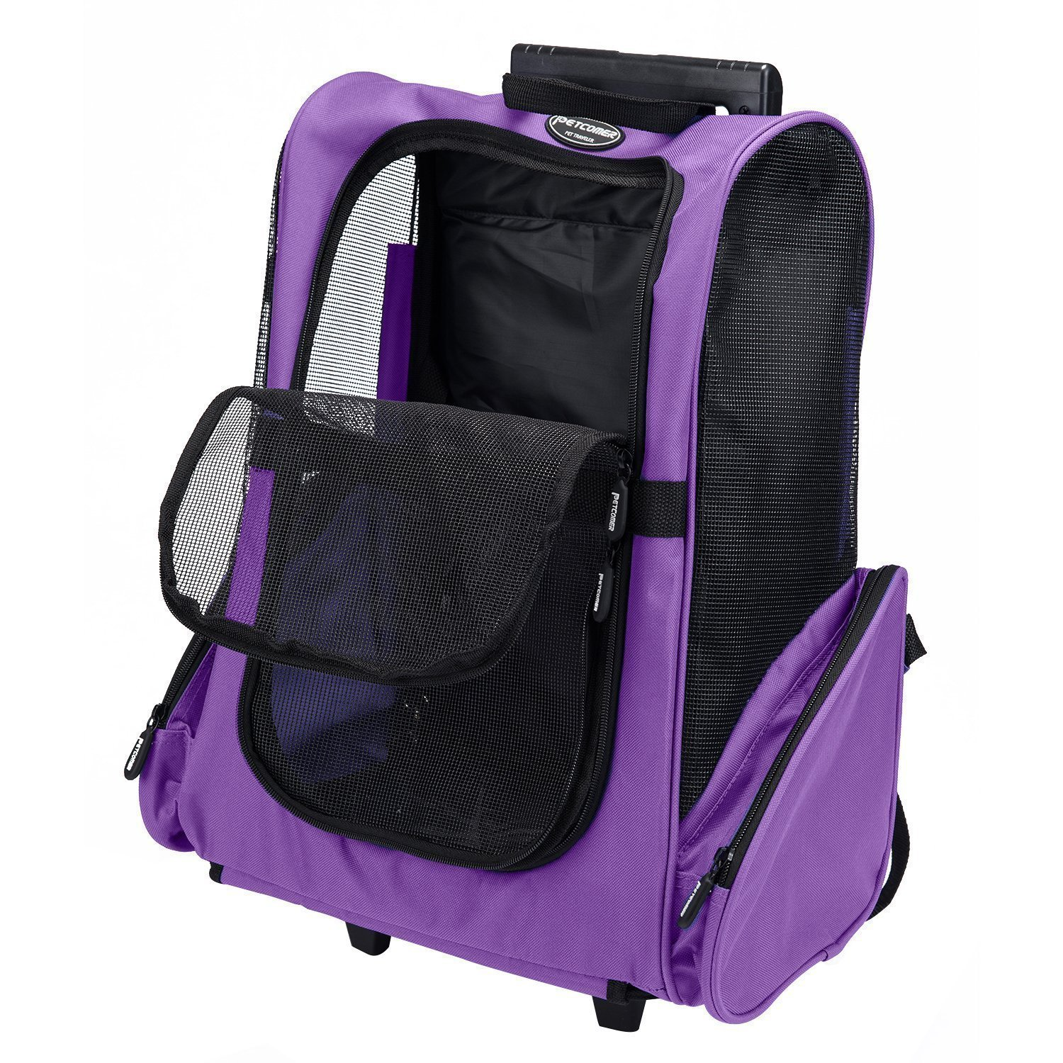 Pettom Roll Around 4-in-1 Pet Carrier Travel Backpack for Dogs & Cats&Small Animals Travel Tote Airline Approved (Small-Hold pet up to 10 lbs, Purple) by Pettom (Image #1)