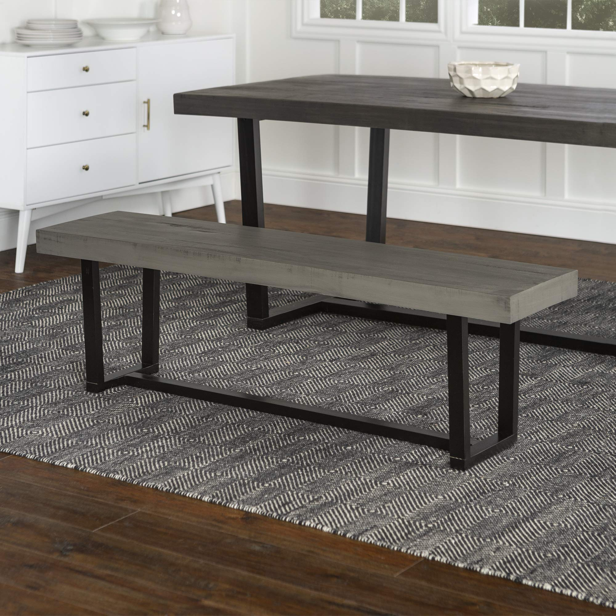 WE Furniture Dining Bench, 60'', Grey by WE Furniture