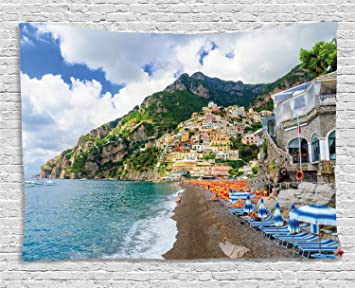 Amazon Com Lunarable Amalfi Coast Tapestry Sunbeds And