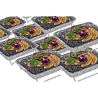 Einweggrill Silber klein One-Way Camping Picknick ✔ eckig ✔ tragbar ✔ Grillen mit Holzkohle