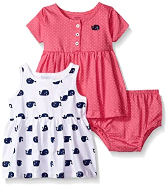 Gerber Little Girls' Toddler Two-Piece Dress Set, Whales/Exclusive, 5T