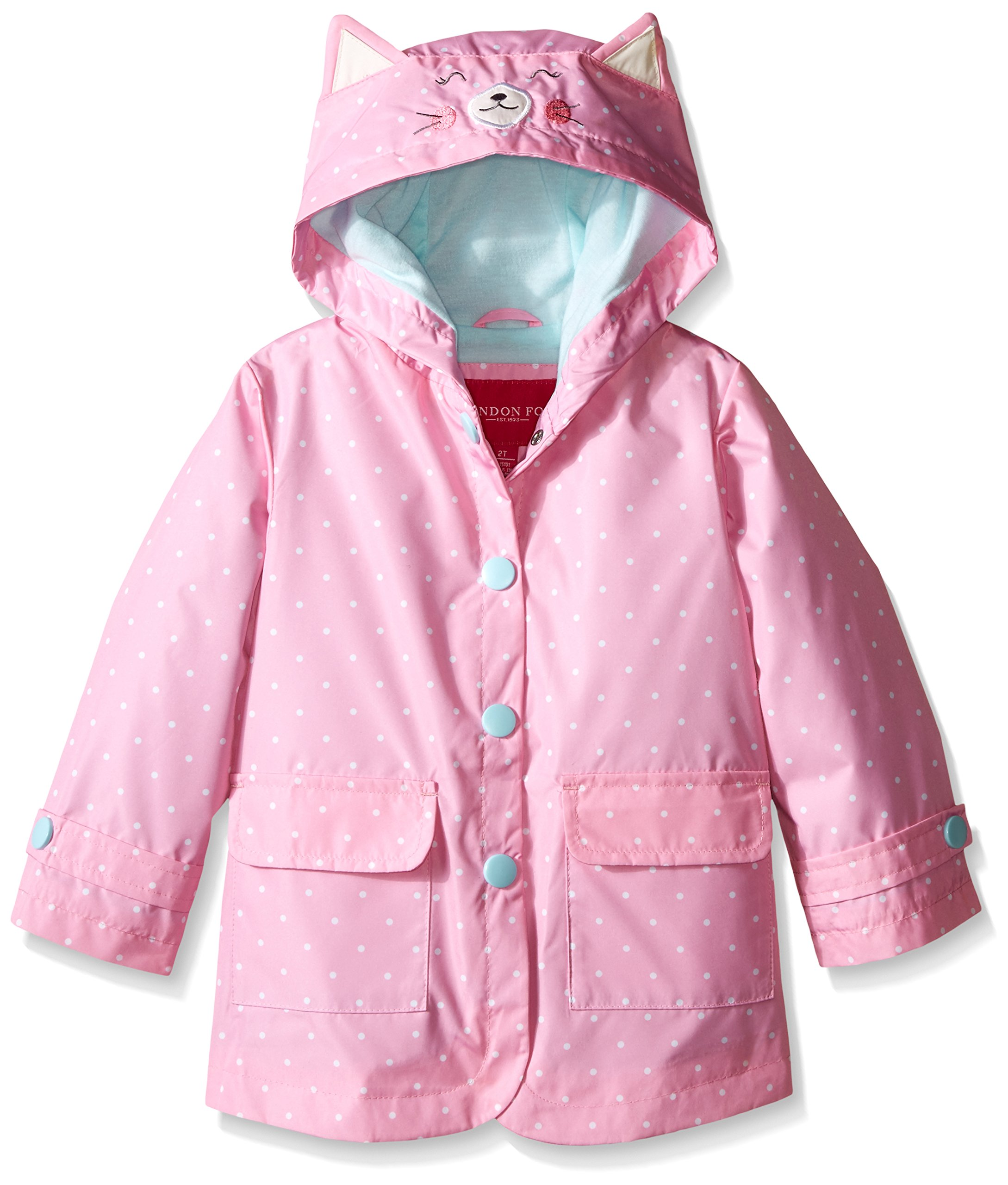 London Fog Little Girls Enhanced Radiance Kitty Cat Rain Slicker, Dot Print, 6X by London Fog
