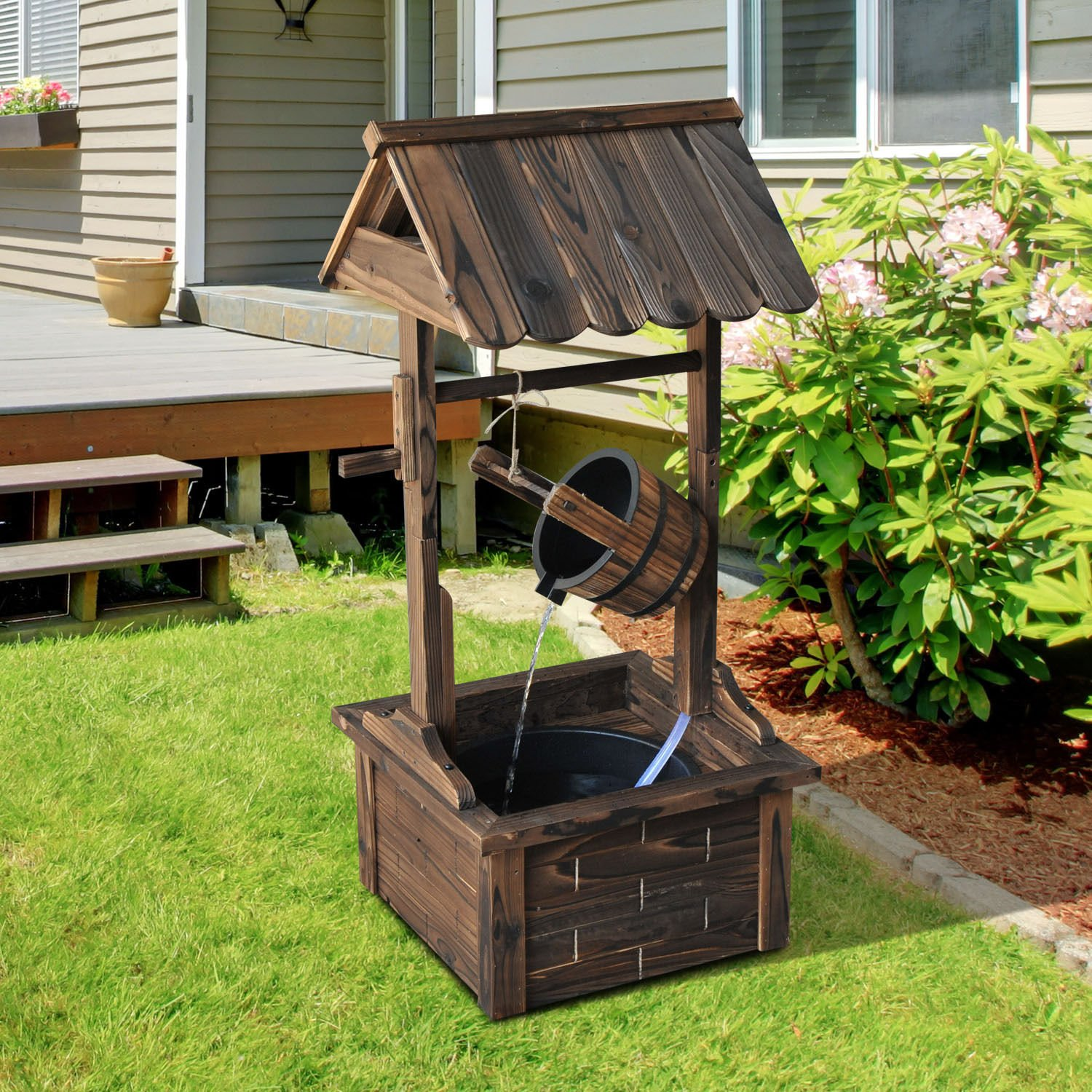 Amazon.com : Outsunny Accent Rustic Wishing Well Fountain : Garden ...