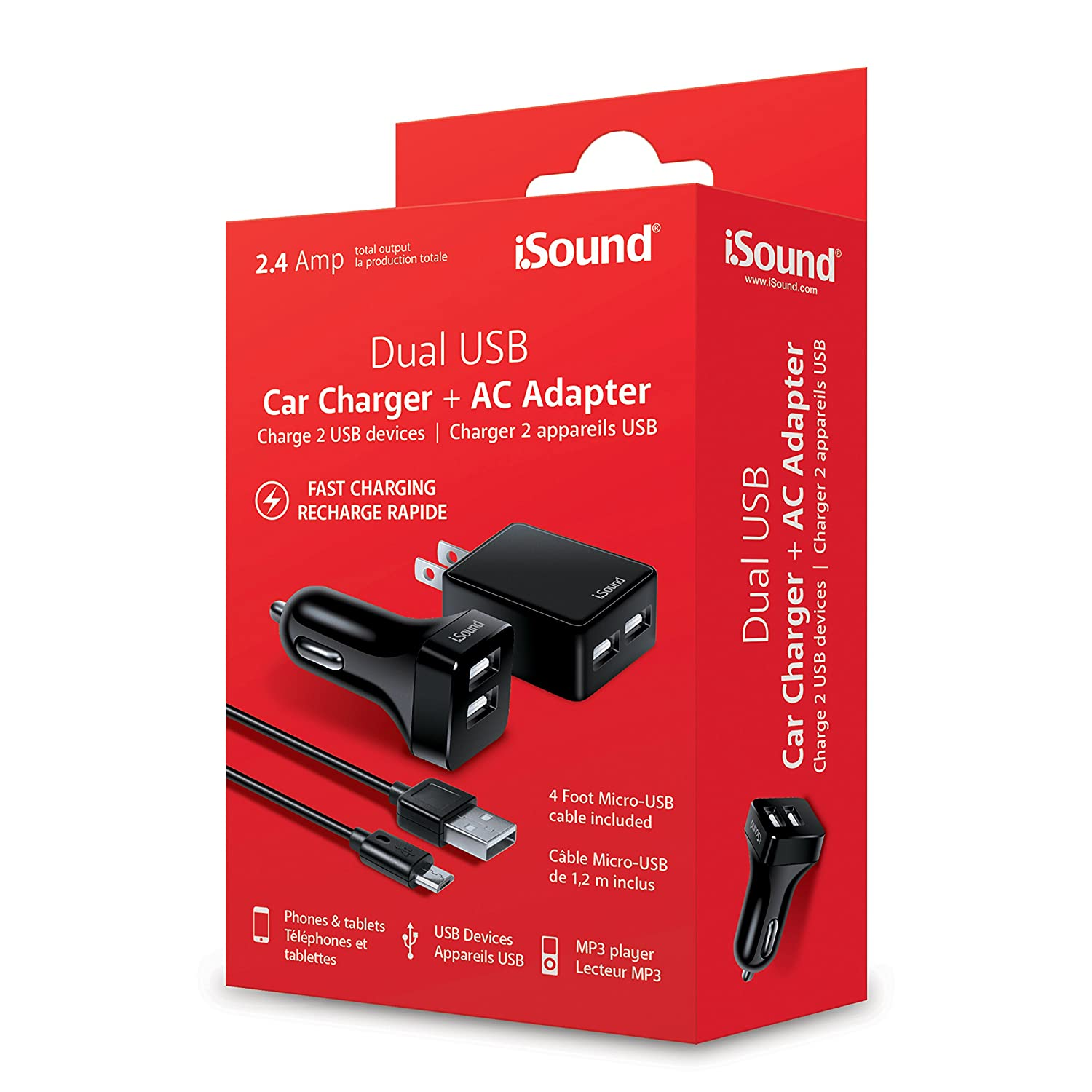 iSound-2.4A Dual USB Car Charger, Wall Charger & Micro-USB Cable-Charge Two Smartphones Simultaneously ISOUND-6857