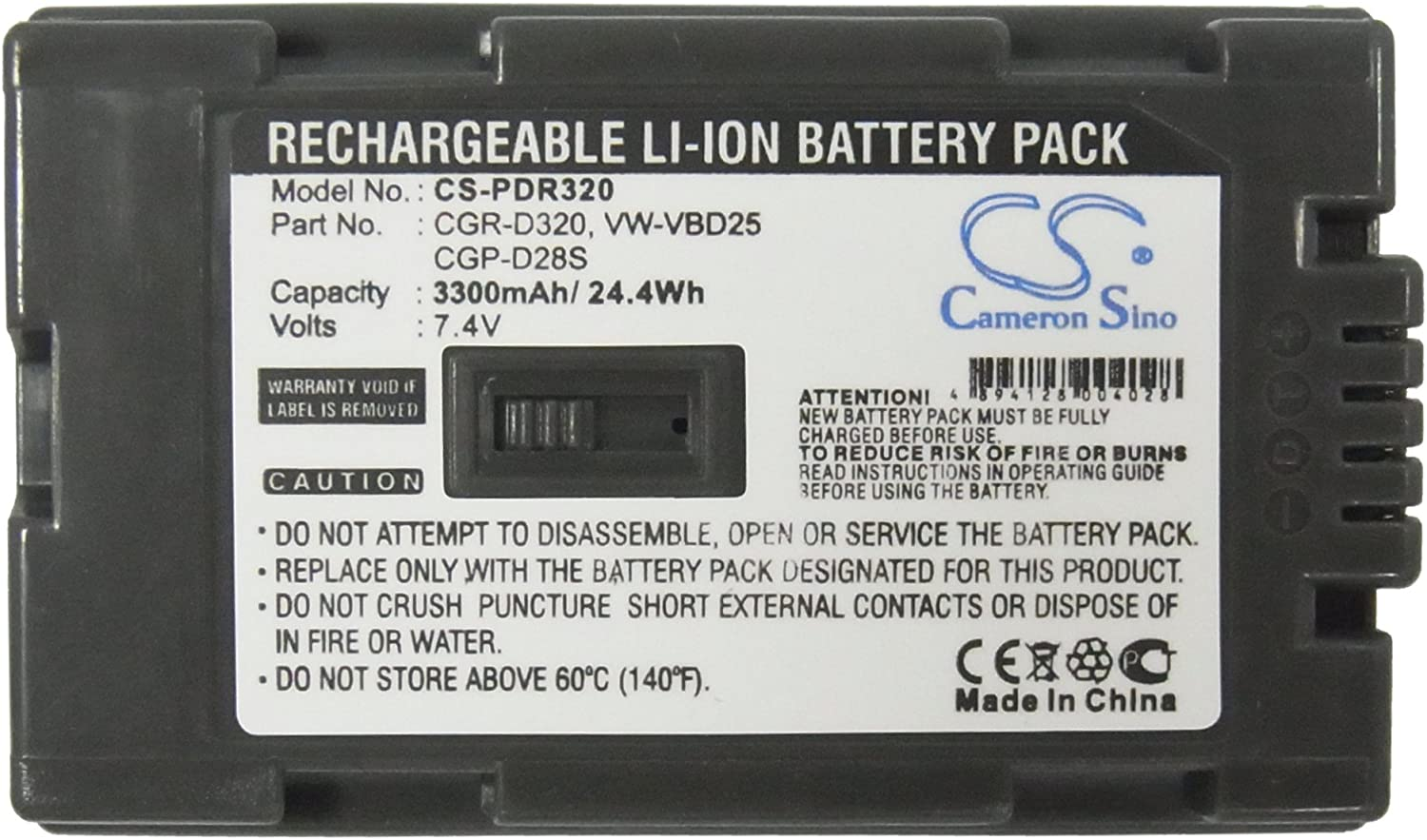 XPS Replacement Battery Compatible with HITACHI DZ-MV200A DZ-MV200E DZ-MV208E DZ-MV230A DZ-MV230EPANASONIC AG-DVC15 CGR-D28A//1B CGR-D28SE//1B CGR-D320A//1B
