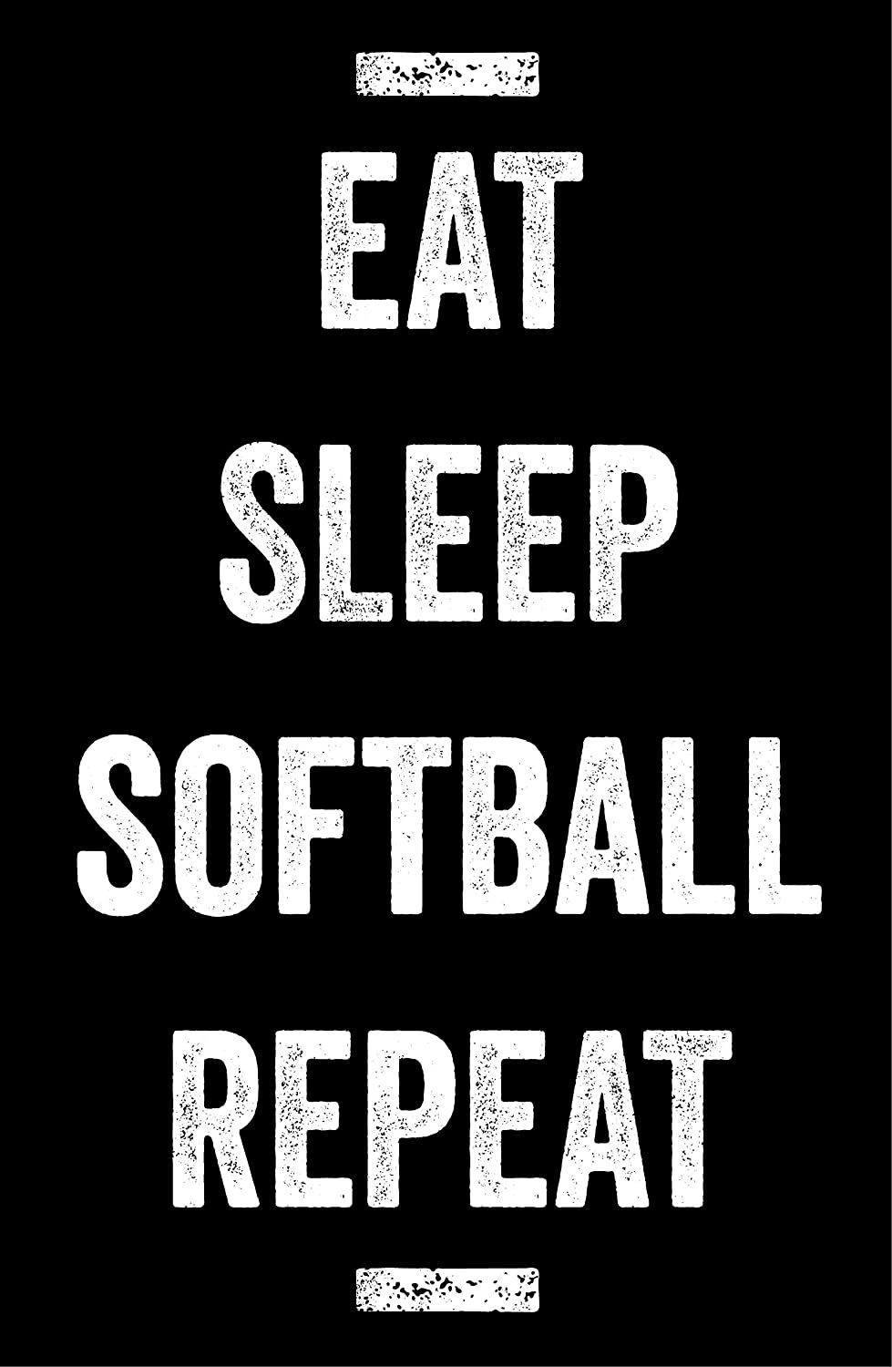 Motivational Fan Print Girls Room Wall Art Damdekoli Eat Sleep Softball Poster Kids Decoration 11x17 inches
