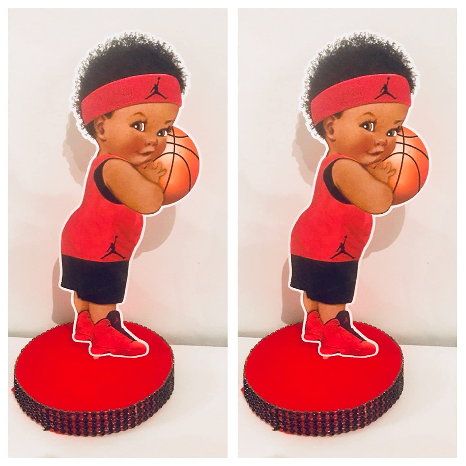 Basketball centerpiece, little prince centerpiece, Red and Black decorations, baby shower, basketball party, african baby centerpiece