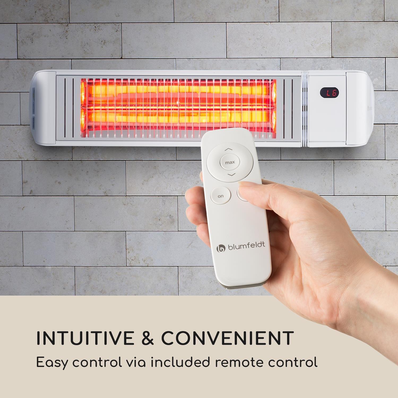 Blumfeldt Gold Fever Smart • Calefactor por infrarrojos • Radiador para exteriores • 2000 W • 6 niveles de calor • Bluetooth • Control App • Hasta 20 m² ...