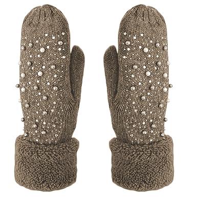 522119168dc1c9 Handschuhe Fäustlinge mit Perlen und Glitzer Strick Handschuhe gefüttert  Farbe Braun: Amazon.de: Bekleidung