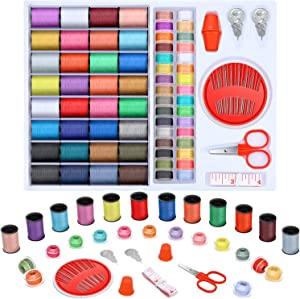 100 Pieces Mini Sewing Thread Kit for Home Travel DIY Craft, Colorful Thread Spools, 30-Count Assorted Needles, Plastic Sewing Thimble, Threaders, Small Sewing Trimming Scissor and Tape Measure