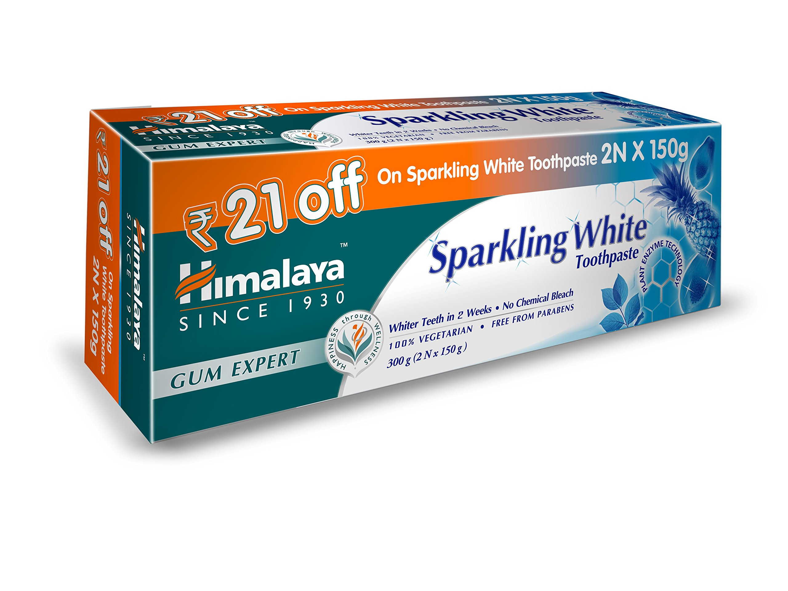 Himalaya Herbals Sparkling White Toothpaste - 150 g (Pack of 2)