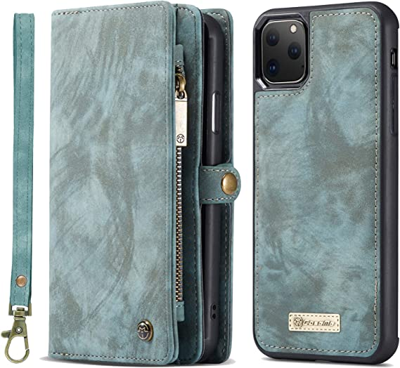 Leather Cover Compatible with iPhone 11 Pro Max Blue Wallet Case for iPhone 11 Pro Max
