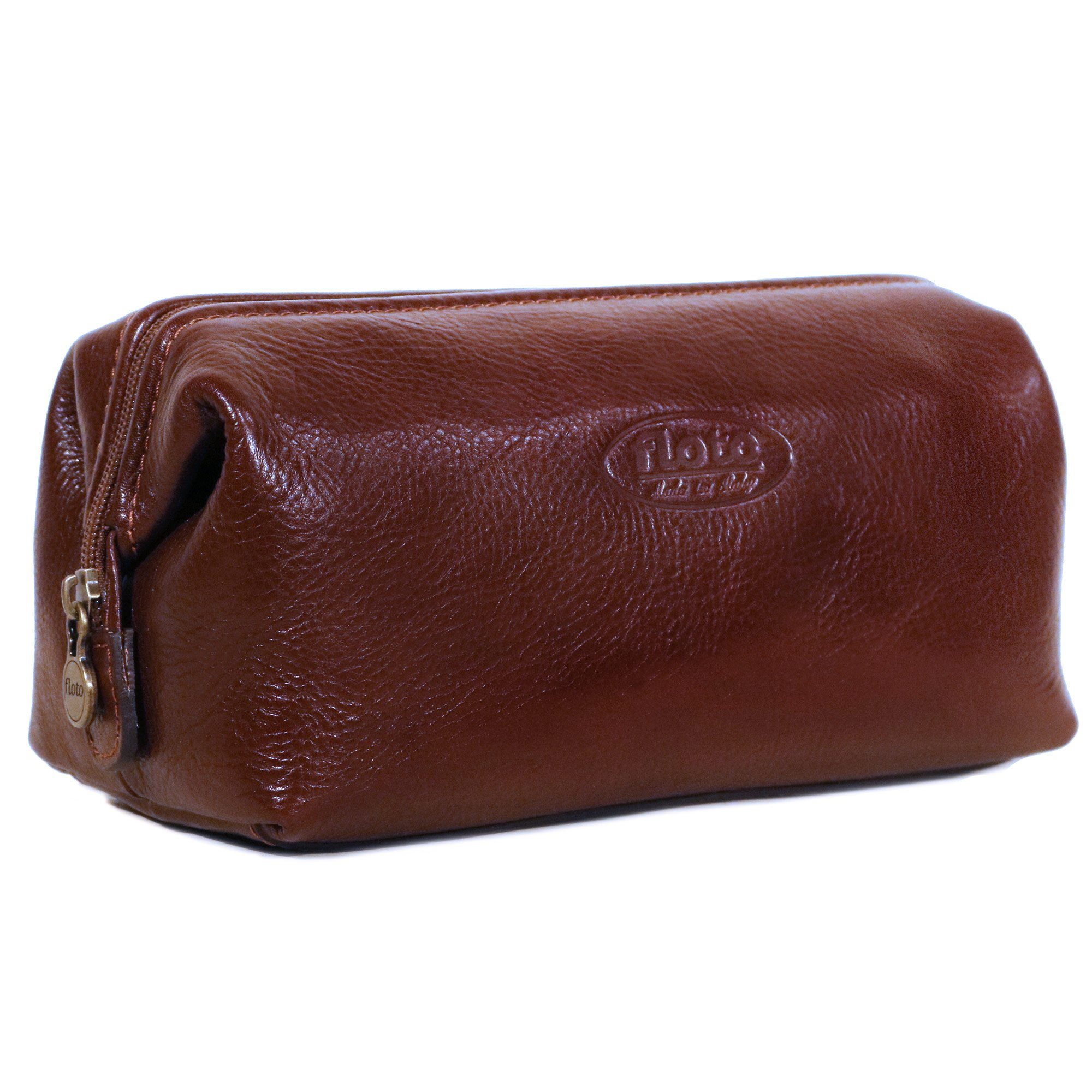 Floto Collection Dopp Kit in Brown Italian Calfskin Leather by Floto