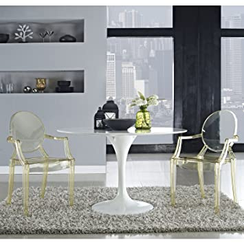 Modway Casper Modern Acrylic Stacking Kitchen And Dining Room Arm Chair In Yellow Fully Assembled