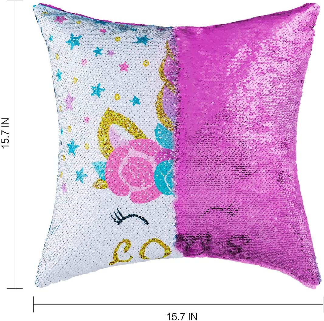 Sequin Throw Pillow Covers Mermaid Reversible Sequin Pillow Case Change Color for Kids Girl Boy Glitter Cushion Cover For Couch Home Decorative Sofa Bed 16x16 Flamingo