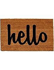 Home & More 100341729NBS Hello Natural/Black Script Doormat 17-Inch X 29-Inch