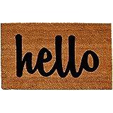 """Home & More Natural/Black Script Hello Doormat, 1'5"""" x 2'5"""""""