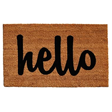 Calloway Mills Home & More Natural/Black Script Hello Doormat, 2' x 3'