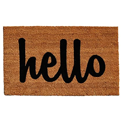 Attrayant Home U0026 More Natural/Black Script Hello Doormat, ...